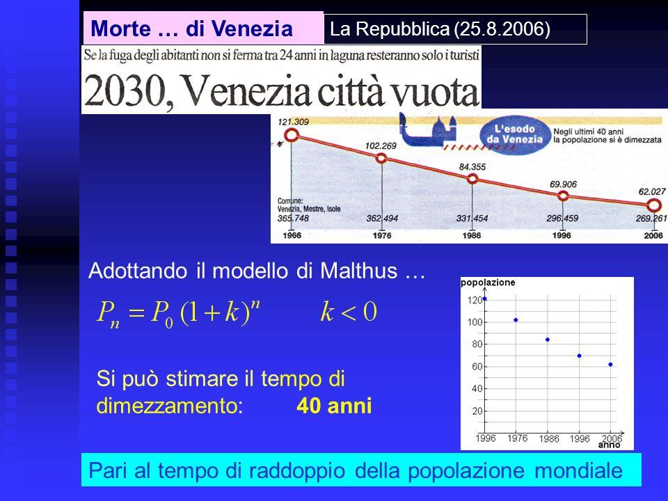 Morte … di Venezia La Repubblica (25.8.2006) Si può stimare il tempo di dimezzamento: 40 anni Adottando il modello di Malthus … Pari al tempo di raddo