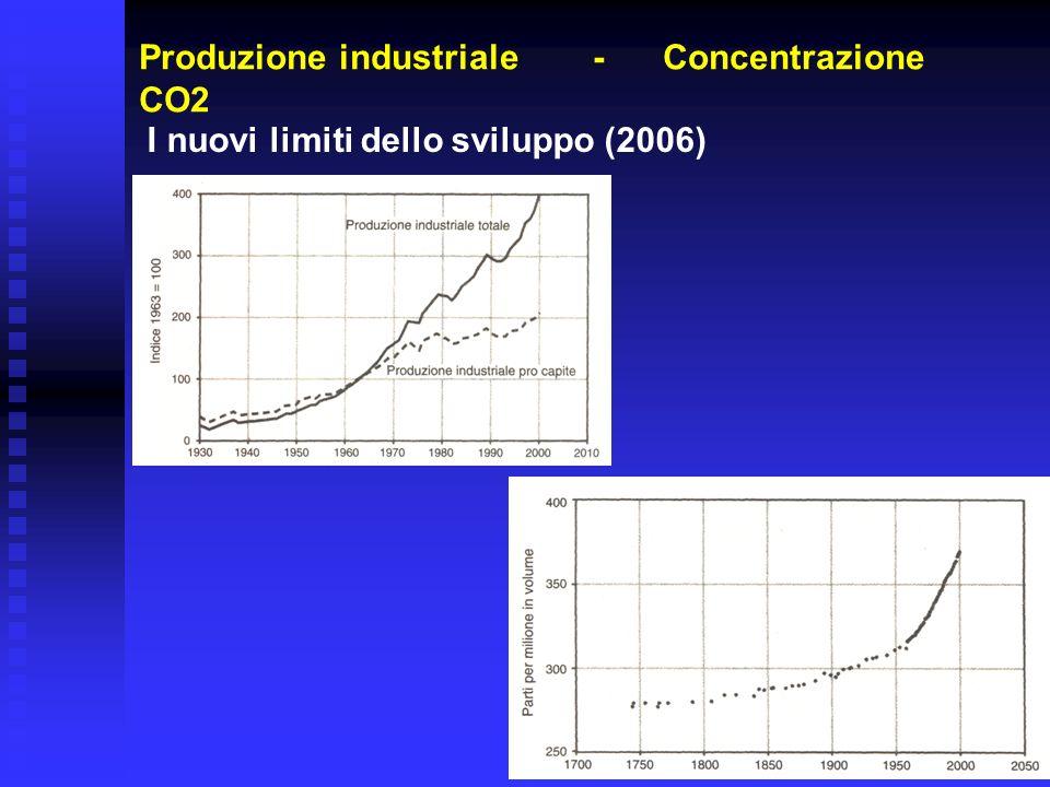 Produzione industriale - Concentrazione CO2 I nuovi limiti dello sviluppo (2006)