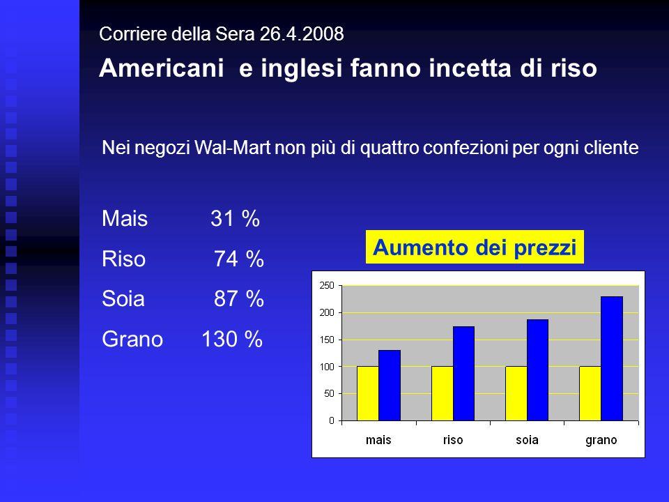 Corriere della Sera 26.4.2008 Americani e inglesi fanno incetta di riso Aumento dei prezzi Mais 31 % Riso 74 % Soia 87 % Grano 130 % Nei negozi Wal-Ma