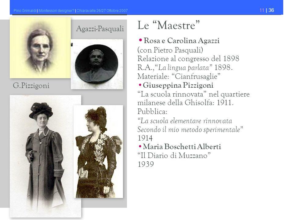 Pino Grimaldi | Montessori designer? | Chiaravalle 26/27 Ottobre 2007 11 | 36 Rosa e Carolina Agazzi (con Pietro Pasquali) Relazione al congresso del