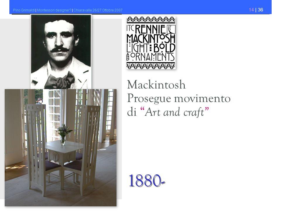 Pino Grimaldi | Montessori designer? | Chiaravalle 26/27 Ottobre 2007 14 | 36 Mackintosh Prosegue movimento di Art and craft 1880-