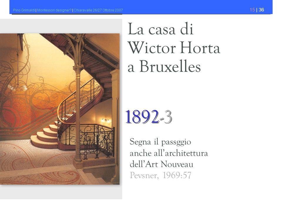 Pino Grimaldi | Montessori designer? | Chiaravalle 26/27 Ottobre 2007 15 | 36 La casa di Wictor Horta a Bruxelles 1892-3 Segna il passggio anche allar