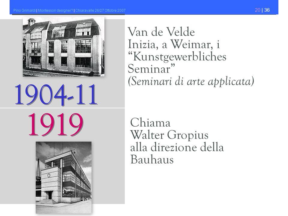 Pino Grimaldi | Montessori designer? | Chiaravalle 26/27 Ottobre 2007 20 | 36 Van de Velde Inizia, a Weimar, i Kunstgewerbliches Seminar (Seminari di