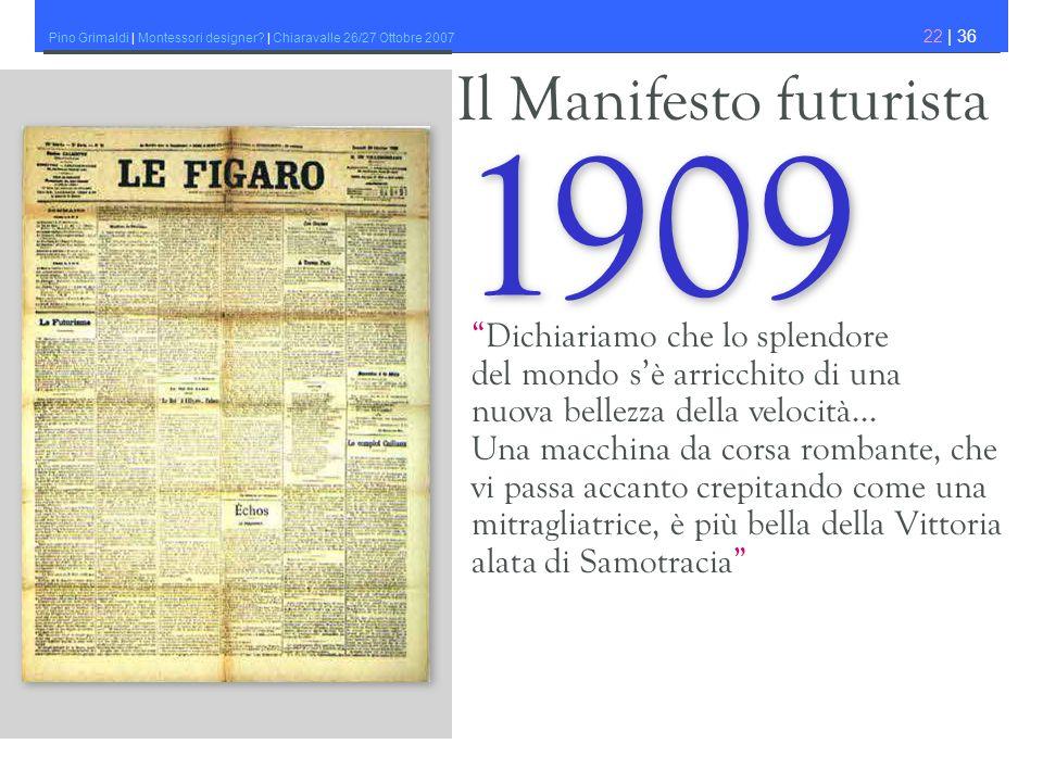 Pino Grimaldi | Montessori designer? | Chiaravalle 26/27 Ottobre 2007 22 | 36 Il Manifesto futurista 1909 Dichiariamo che lo splendore del mondo sè ar