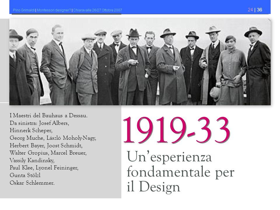 Pino Grimaldi | Montessori designer? | Chiaravalle 26/27 Ottobre 2007 24 | 36 Unesperienza fondamentale per il Design 1919-33 I Maestri del Bauhaus a