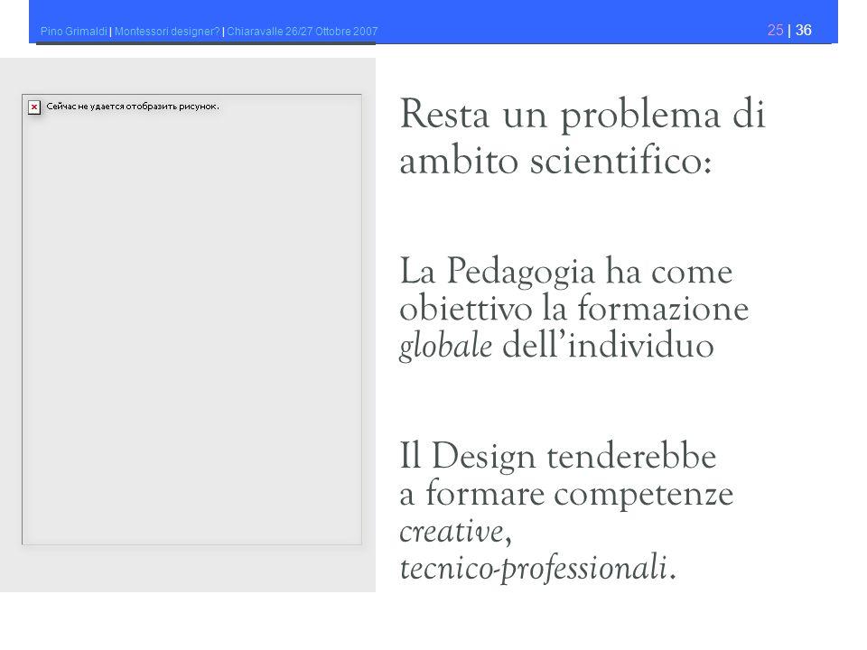 Pino Grimaldi | Montessori designer? | Chiaravalle 26/27 Ottobre 2007 25 | 36 La Pedagogia ha come obiettivo la formazione globale dellindividuo Il De