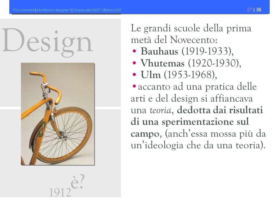 Pino Grimaldi | Montessori designer? | Chiaravalle 26/27 Ottobre 2007 27 | 36 Le grandi scuole della prima metà del Novecento: Bauhaus (1919-1933), Vh