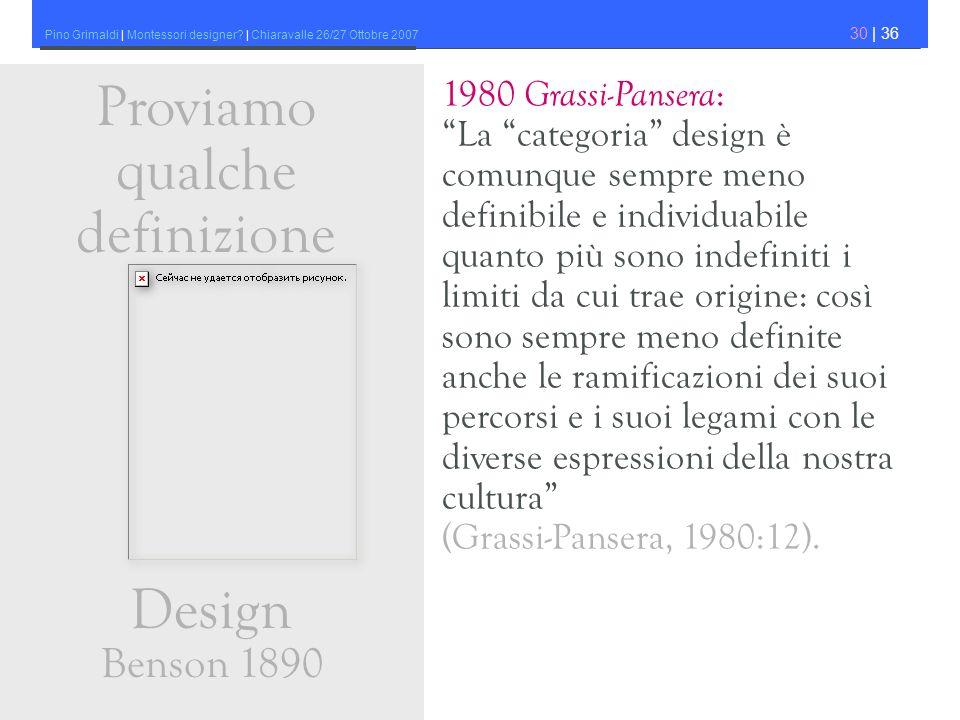 Pino Grimaldi | Montessori designer? | Chiaravalle 26/27 Ottobre 2007 30 | 36 1980 Grassi-Pansera : La categoria design è comunque sempre meno definib