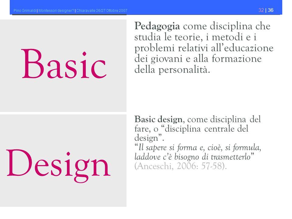 Pino Grimaldi | Montessori designer? | Chiaravalle 26/27 Ottobre 2007 32 | 36 Basic design, come disciplina del fare, o disciplina centrale del design