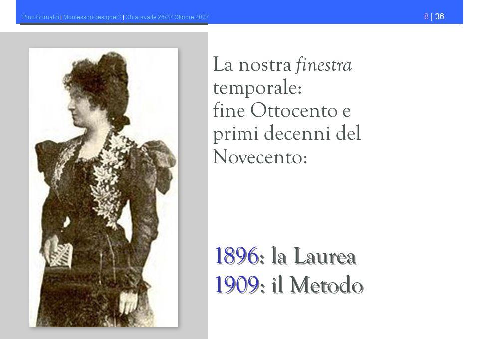 Pino Grimaldi | Montessori designer? | Chiaravalle 26/27 Ottobre 2007 8 | 36 La nostra finestra temporale: fine Ottocento e primi decenni del Novecent
