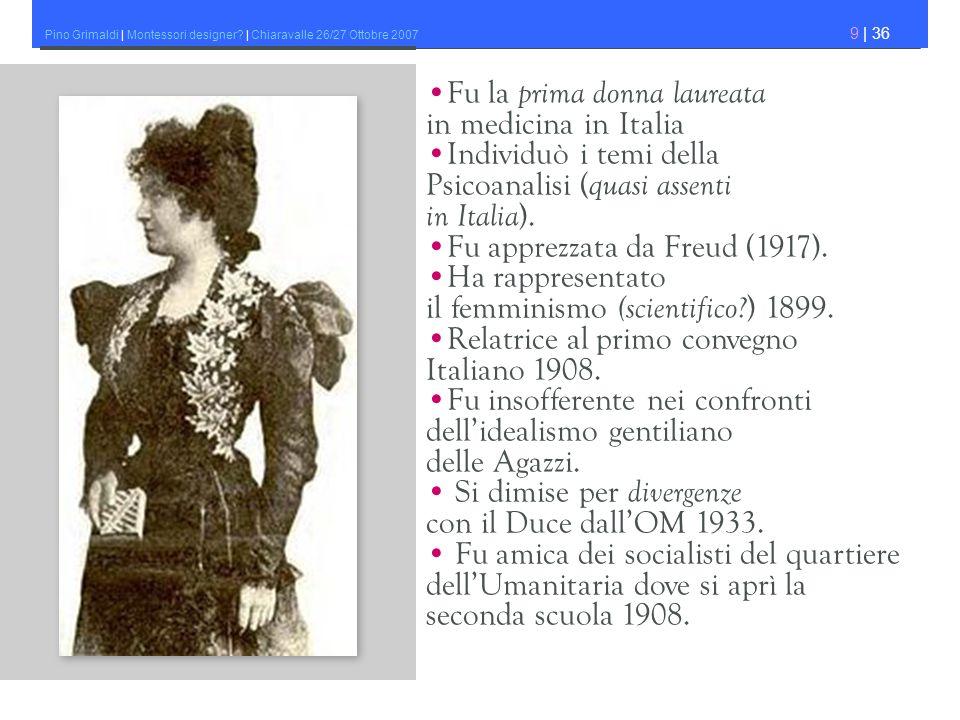 Pino Grimaldi | Montessori designer? | Chiaravalle 26/27 Ottobre 2007 9 | 36 Fu la prima donna laureata in medicina in Italia Individuò i temi della P