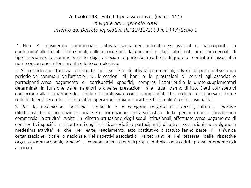 Articolo 148 - Enti di tipo associativo. (ex art. 111) In vigore dal 1 gennaio 2004 Inserito da: Decreto legislativo del 12/12/2003 n. 344 Articolo 1