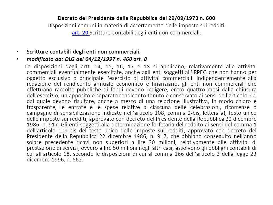 Decreto del Presidente della Repubblica del 29/09/1973 n. 600 Disposizioni comuni in materia di accertamento delle imposte sui redditi. art. 20 Scritt