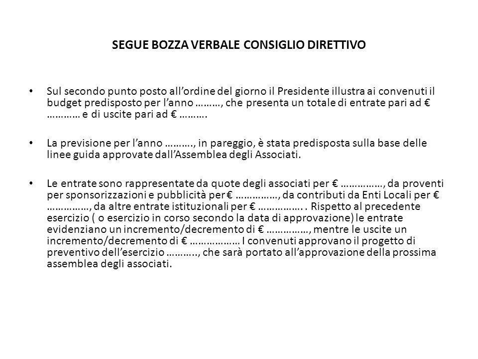 SEGUE BOZZA VERBALE CONSIGLIO DIRETTIVO Sul secondo punto posto allordine del giorno il Presidente illustra ai convenuti il budget predisposto per lan