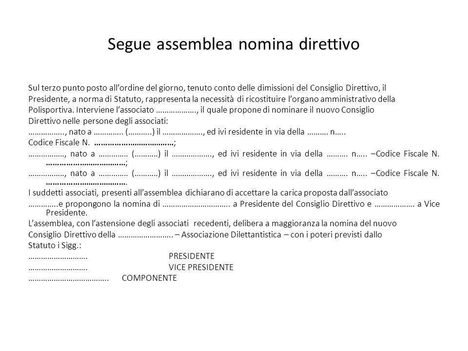 Segue assemblea nomina direttivo Sul terzo punto posto allordine del giorno, tenuto conto delle dimissioni del Consiglio Direttivo, il Presidente, a n