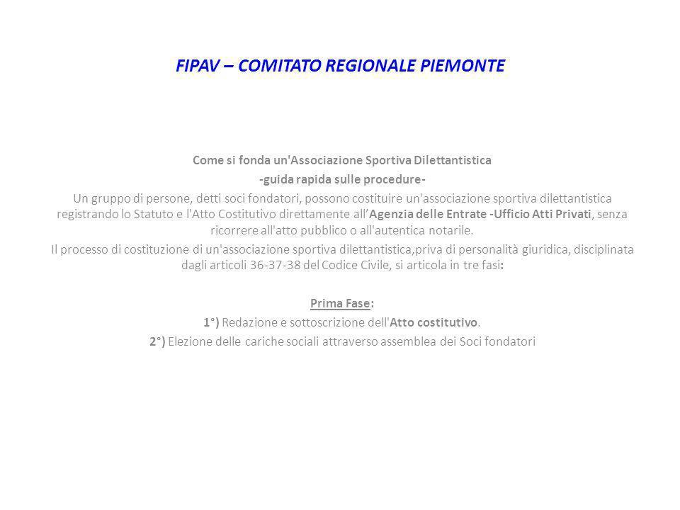 FIPAV – COMITATO REGIONALE PIEMONTE Come si fonda un'Associazione Sportiva Dilettantistica -guida rapida sulle procedure- Un gruppo di persone, detti