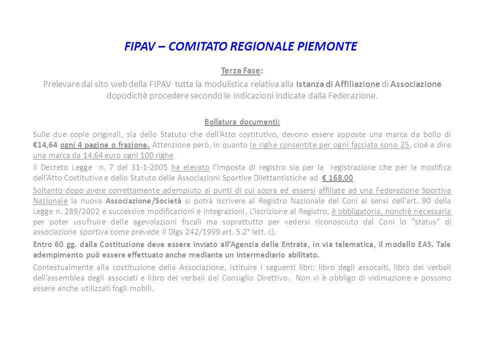 FIPAV – COMITATO REGIONALE PIEMONTE Terza Fase: Prelevare dal sito web della FIPAV tutta la modulistica relativa alla Istanza di Affiliazione di Assoc