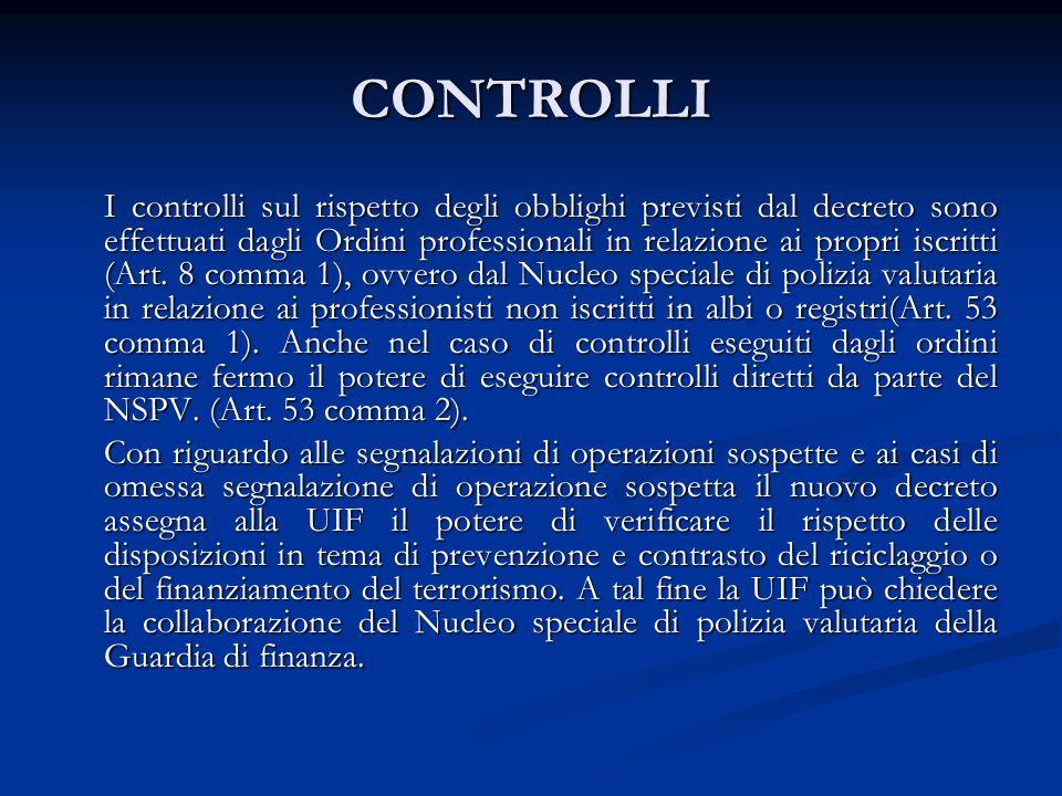 CONTROLLI I controlli sul rispetto degli obblighi previsti dal decreto sono effettuati dagli Ordini professionali in relazione ai propri iscritti (Art.