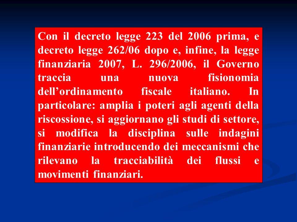 Con il decreto legge 223 del 2006 prima, e decreto legge 262/06 dopo e, infine, la legge finanziaria 2007, L.