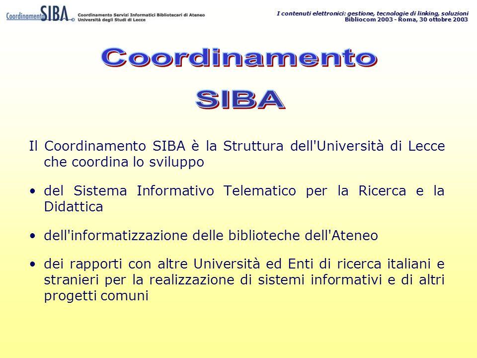 I contenuti elettronici: gestione, tecnologie di linking, soluzioni Bibliocom 2003 - Roma, 30 ottobre 2003 Il Coordinamento SIBA è la Struttura dell'U