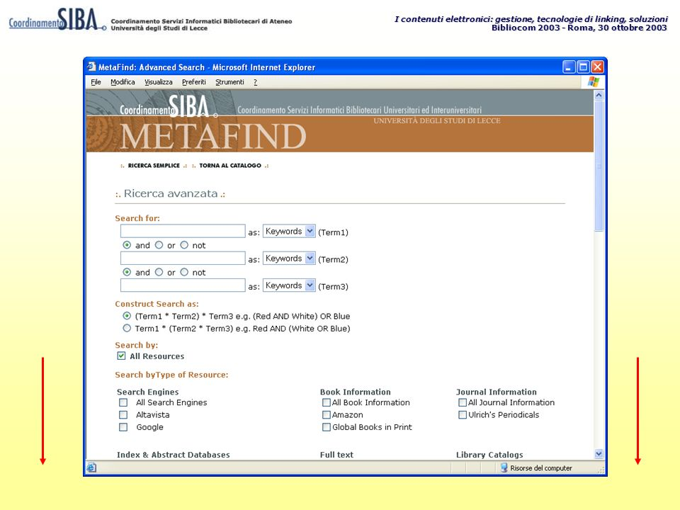 I contenuti elettronici: gestione, tecnologie di linking, soluzioni Bibliocom 2003 - Roma, 30 ottobre 2003
