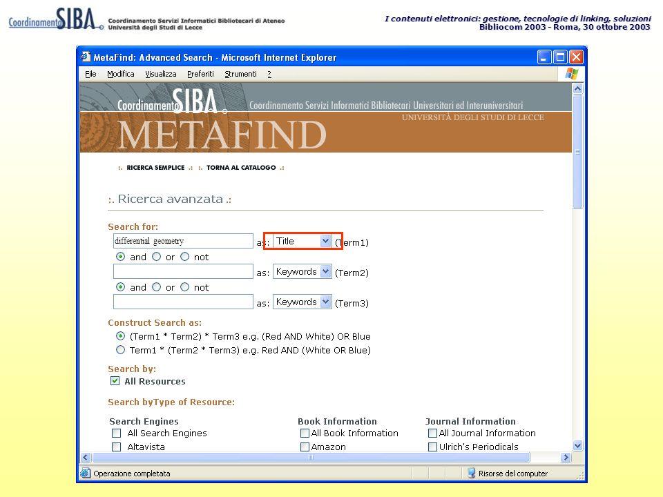 I contenuti elettronici: gestione, tecnologie di linking, soluzioni Bibliocom 2003 - Roma, 30 ottobre 2003 differential geometry