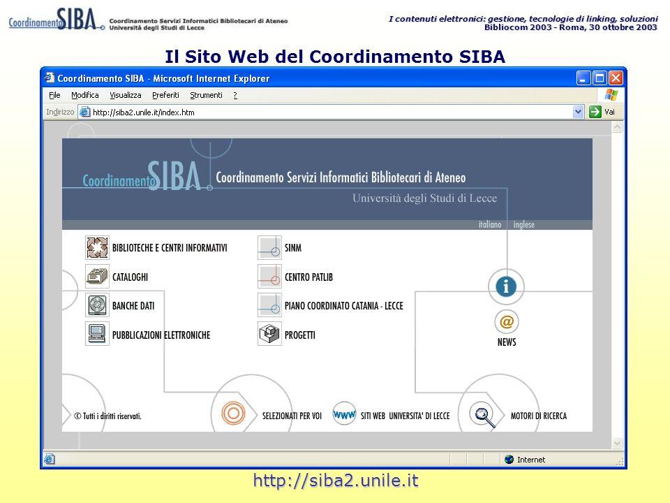 I contenuti elettronici: gestione, tecnologie di linking, soluzioni Bibliocom 2003 - Roma, 30 ottobre 2003 http://siba2.unile.it Il Sito Web del Coordinamento SIBA