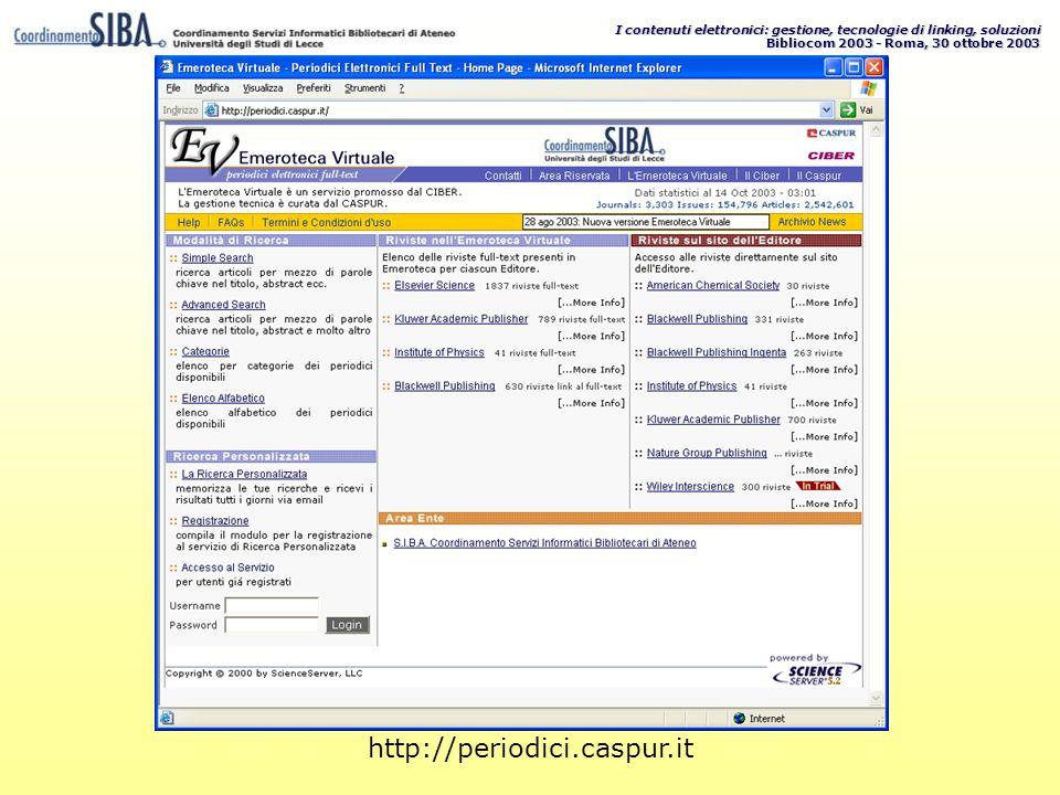 I contenuti elettronici: gestione, tecnologie di linking, soluzioni Bibliocom 2003 - Roma, 30 ottobre 2003 http://periodici.caspur.it