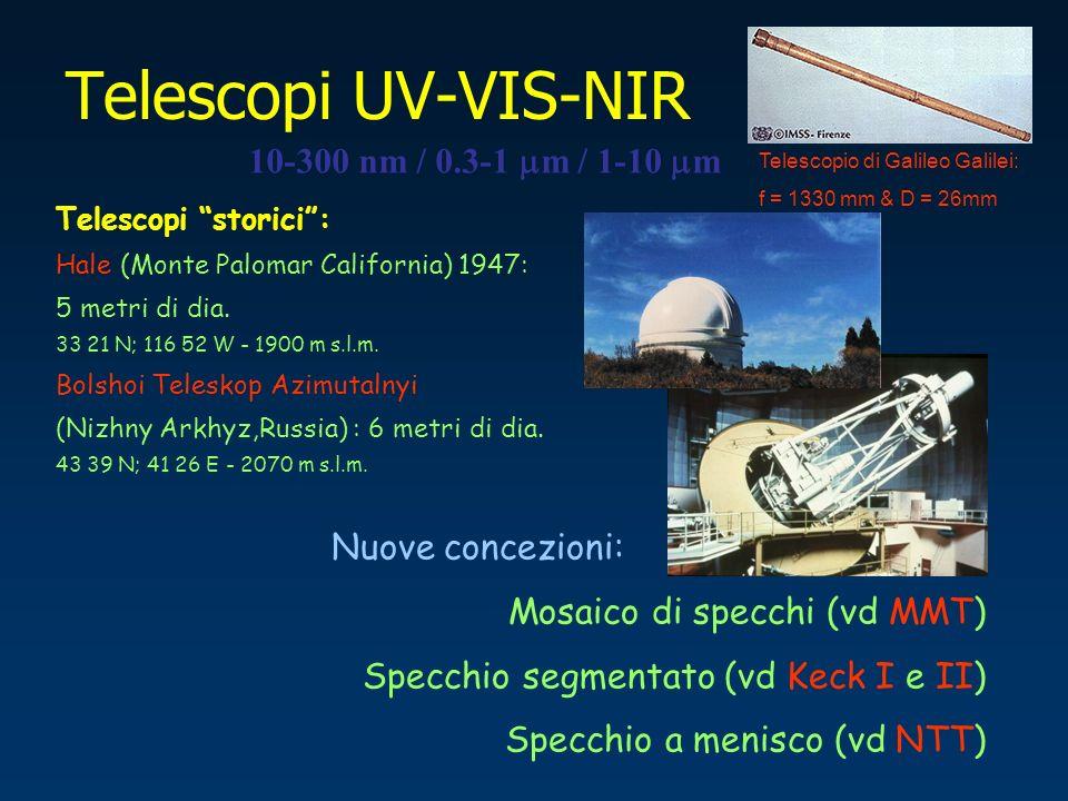 Telescopi UV-VIS-NIR 10-300 nm / 0.3-1 m / 1-10 m Telescopi storici: Hale (Monte Palomar California) 1947: 5 metri di dia. 33 21 N; 116 52 W - 1900 m