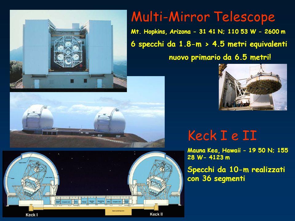 Multi-Mirror Telescope Mt. Hopkins, Arizona - 31 41 N; 110 53 W - 2600 m 6 specchi da 1.8-m > 4.5 metri equivalenti nuovo primario da 6.5 metri! Keck