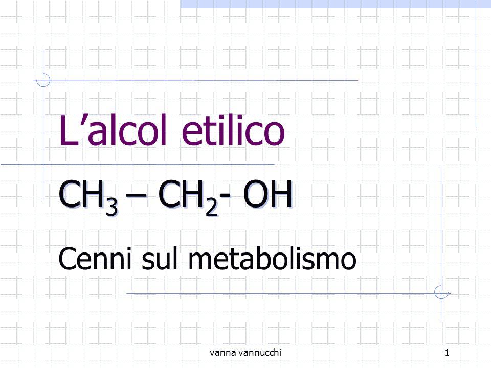 vanna vannucchi1 Lalcol etilico Cenni sul metabolismo CH 3 – CH 2 - OH