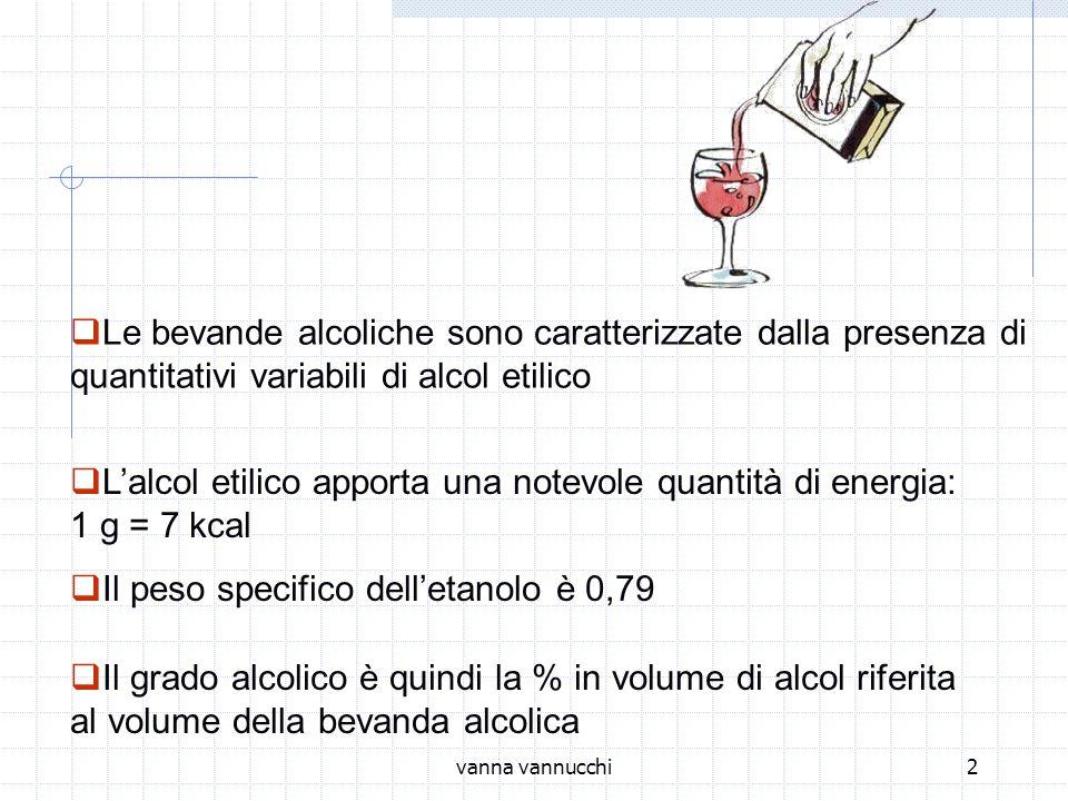 vanna vannucchi2 Le bevande alcoliche sono caratterizzate dalla presenza di quantitativi variabili di alcol etilico Lalcol etilico apporta una notevole quantità di energia: 1 g = 7 kcal Il peso specifico delletanolo è 0,79 Il grado alcolico è quindi la % in volume di alcol riferita al volume della bevanda alcolica