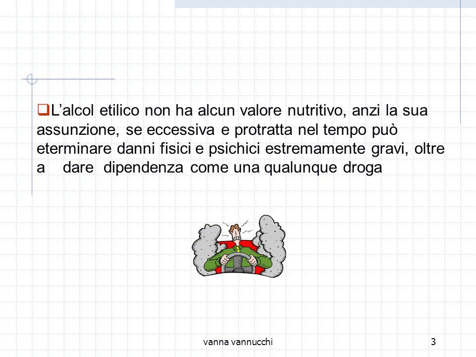vanna vannucchi3 Lalcol etilico non ha alcun valore nutritivo, anzi la sua assunzione, se eccessiva e protratta nel tempo può eterminare danni fisici e psichici estremamente gravi, oltre a dare dipendenza come una qualunque droga