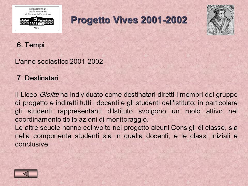 6.Tempi L anno scolastico 2001-2002 7.