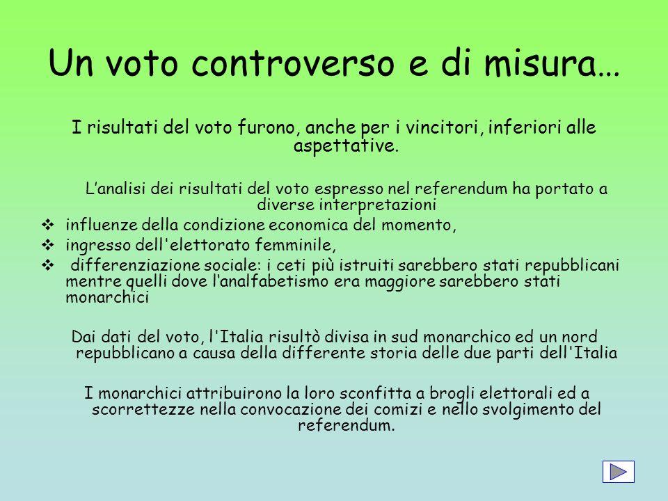 Un voto controverso e di misura… I risultati del voto furono, anche per i vincitori, inferiori alle aspettative. Lanalisi dei risultati del voto espre