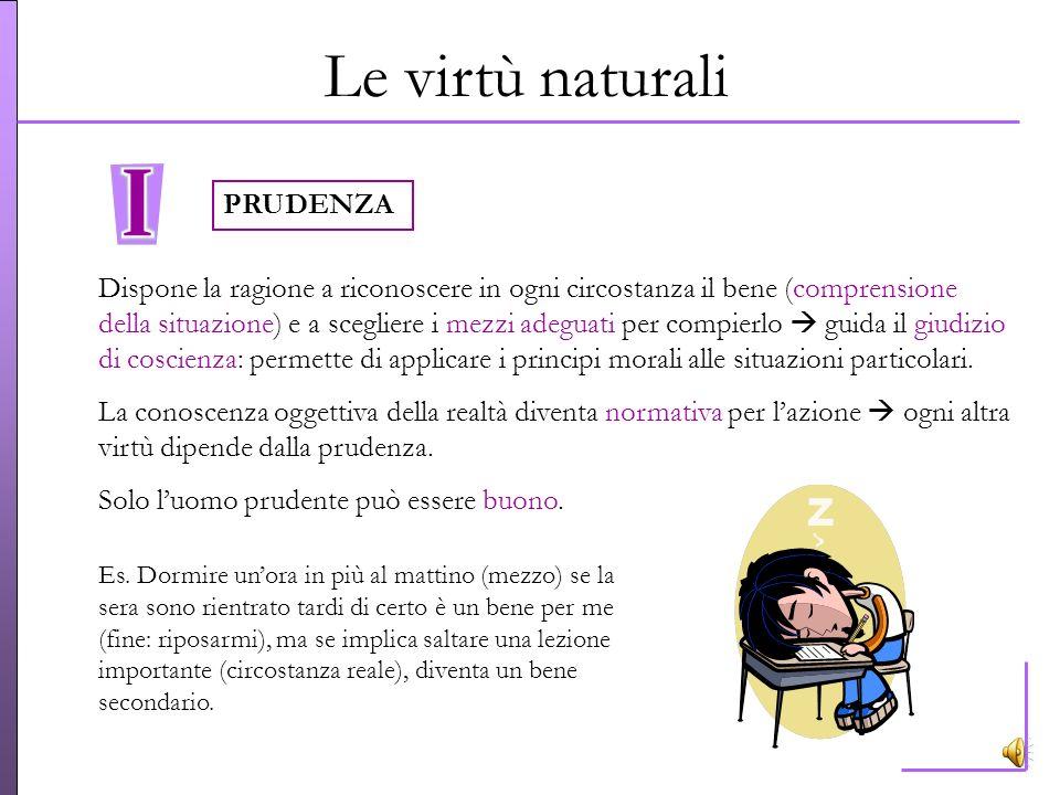 Le virtù naturali È libero luomo che sa esercitare le virtù naturali = abiti morali delluomo buono, attitudini ferme dellintelligenza e della volontà