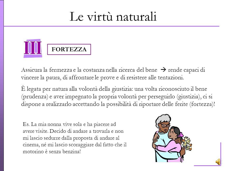 Le virtù naturali Consiste nella costante e ferma volontà di dare a ciascuno ciò che gli è dovuto dispone a rispettare i diritti di ciascuno e a stabi