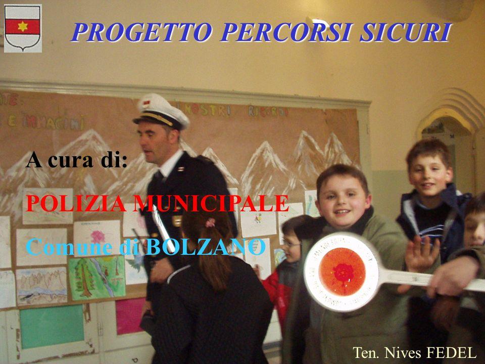 PROGETTO PERCORSI SICURI A cura di: POLIZIA MUNICIPALE Comune di BOLZANO Ten. Nives FEDEL