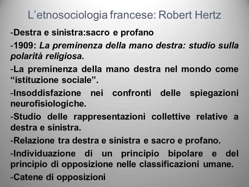 Letnosociologia francese: Robert Hertz -Destra e sinistra:sacro e profano -1909: La preminenza della mano destra: studio sulla polarità religiosa. -La