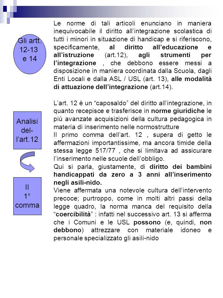 Gli artt. 12-13 e 14 Le norme di tali articoli enunciano in maniera inequivocabile il diritto allintegrazione scolastica di tutti i minori in situazio