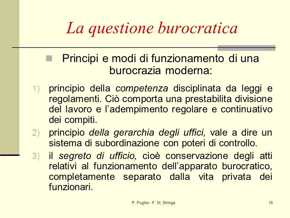P. Puglisi - F. M. Stringa10 La questione burocratica Principi e modi di funzionamento di una burocrazia moderna: 1) principio della competenza discip