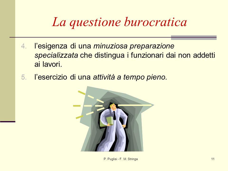 P. Puglisi - F. M. Stringa11 La questione burocratica 4. lesigenza di una minuziosa preparazione specializzata che distingua i funzionari dai non adde
