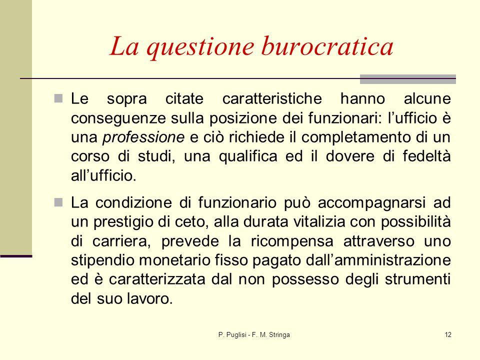P. Puglisi - F. M. Stringa12 La questione burocratica Le sopra citate caratteristiche hanno alcune conseguenze sulla posizione dei funzionari: luffici