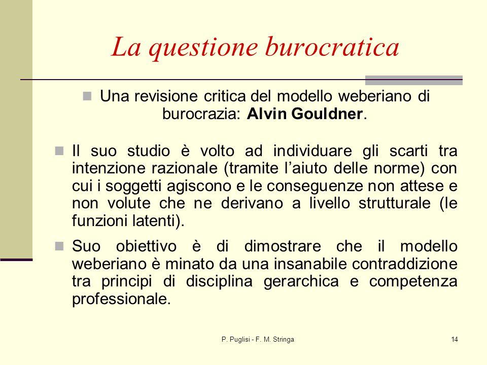 P. Puglisi - F. M. Stringa14 La questione burocratica Una revisione critica del modello weberiano di burocrazia: Alvin Gouldner. Il suo studio è volto