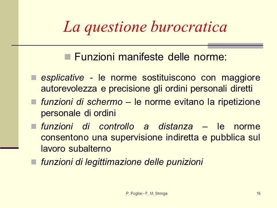 P. Puglisi - F. M. Stringa16 La questione burocratica Funzioni manifeste delle norme: esplicative - le norme sostituiscono con maggiore autorevolezza