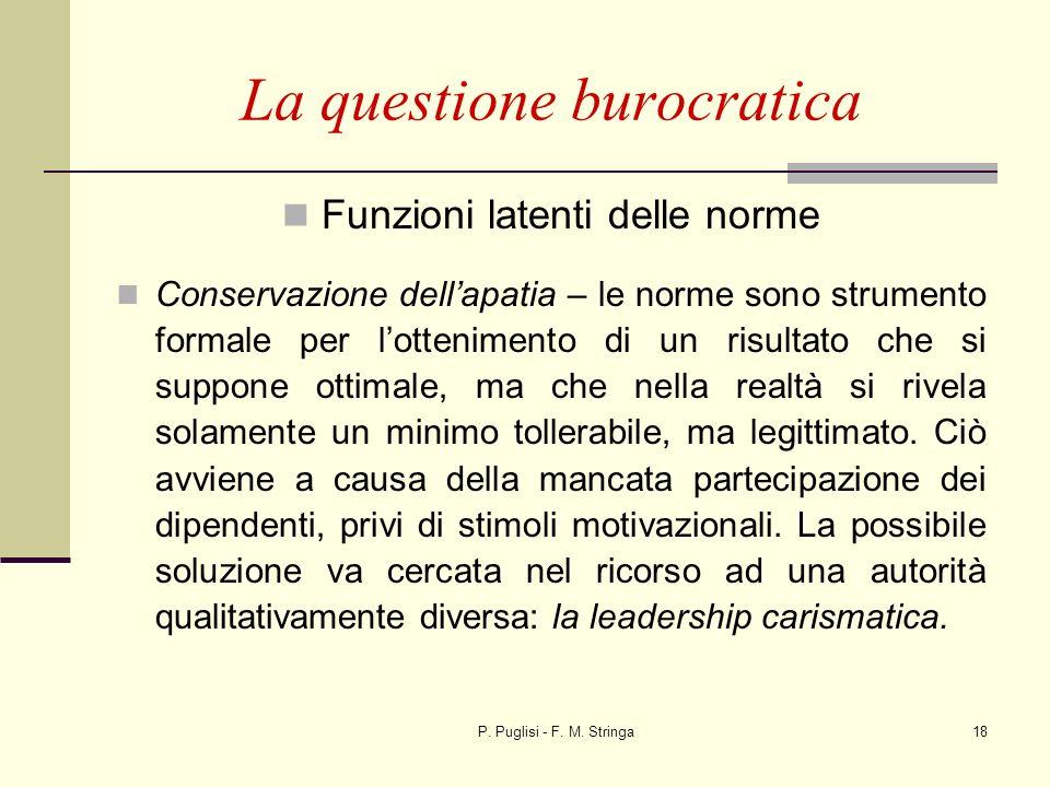 P. Puglisi - F. M. Stringa18 La questione burocratica Funzioni latenti delle norme Conservazione dellapatia – le norme sono strumento formale per lott
