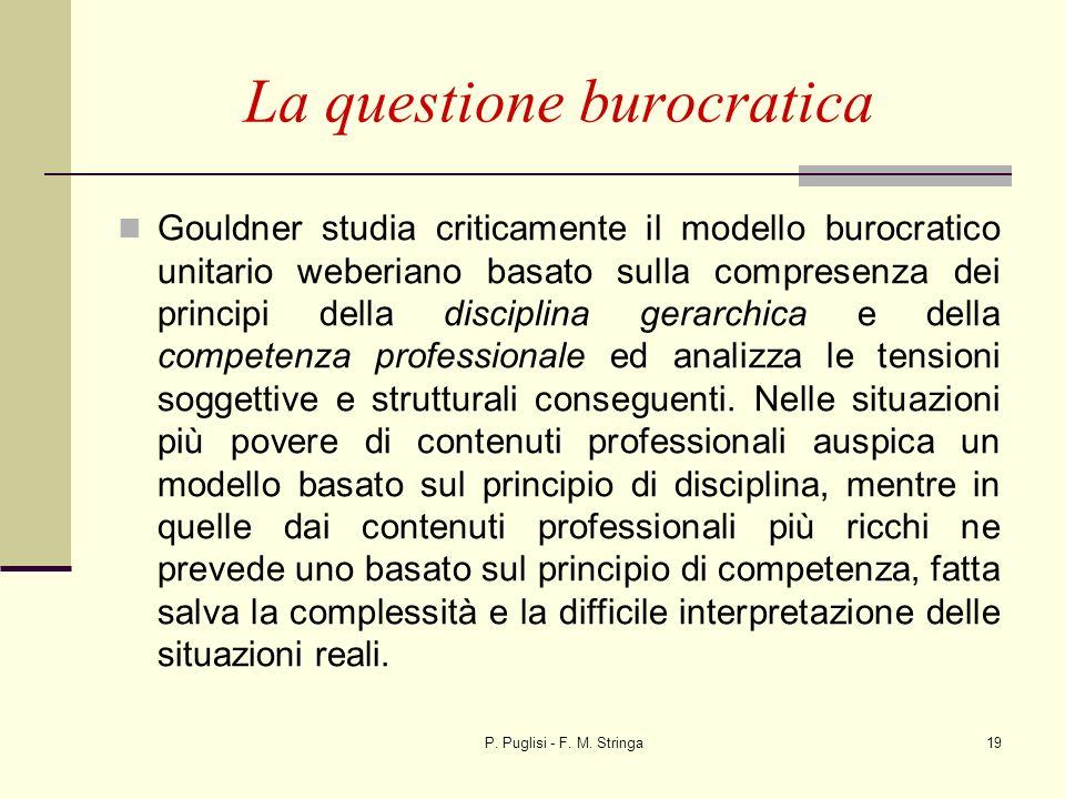 P. Puglisi - F. M. Stringa19 La questione burocratica Gouldner studia criticamente il modello burocratico unitario weberiano basato sulla compresenza