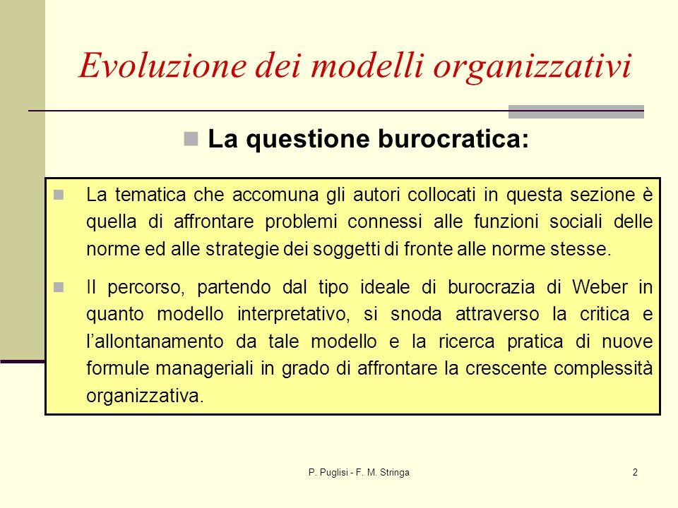 P. Puglisi - F. M. Stringa2 Evoluzione dei modelli organizzativi La questione burocratica: La tematica che accomuna gli autori collocati in questa sez