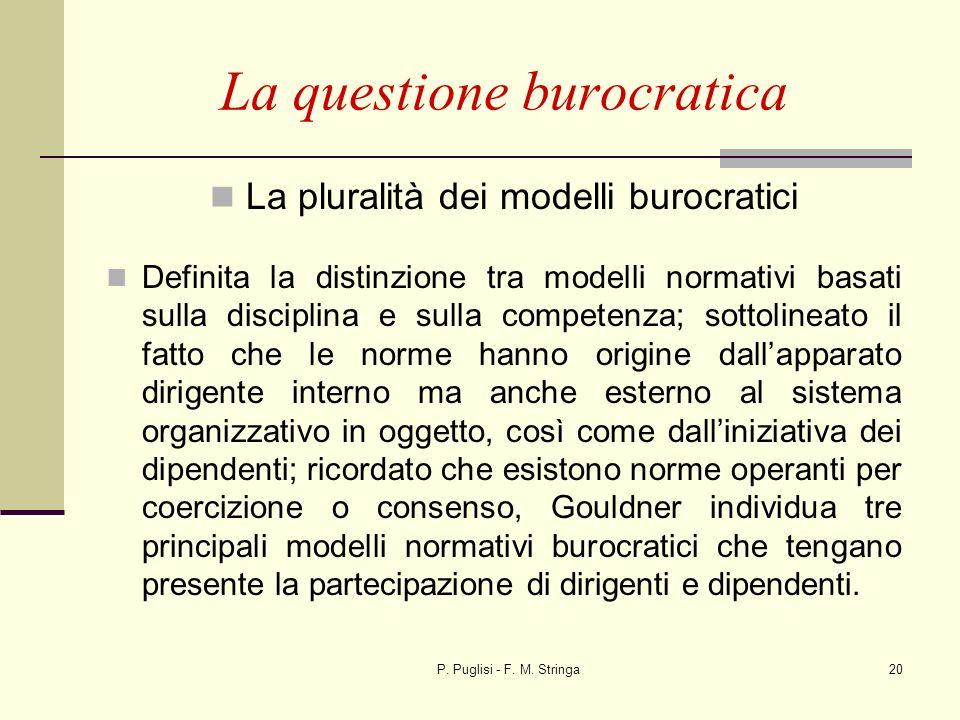 P. Puglisi - F. M. Stringa20 La questione burocratica La pluralità dei modelli burocratici Definita la distinzione tra modelli normativi basati sulla