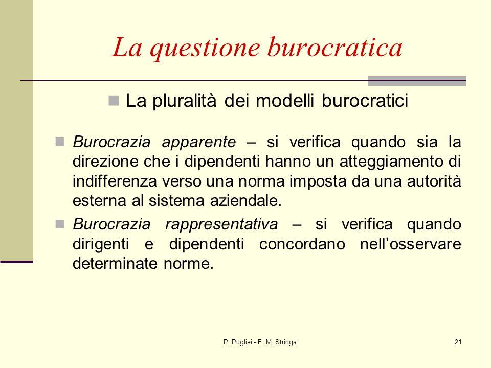 P. Puglisi - F. M. Stringa21 La questione burocratica La pluralità dei modelli burocratici Burocrazia apparente – si verifica quando sia la direzione